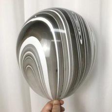 Латексный шар 11″ супер агат черно-белый