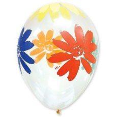 Латексный шар 14″ прозрачный цветы