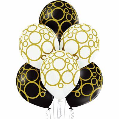 """Латексные шары металлик 14"""" круги золотые"""