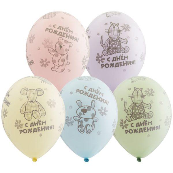 Латексный шар пастель 14″ с днем рождения зверюшки-игрушки