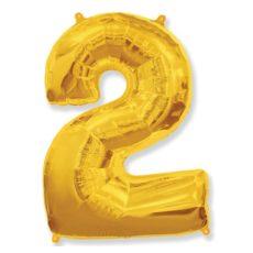 """Фольгированная цифра """"2"""" золотая (Flexmetal)"""