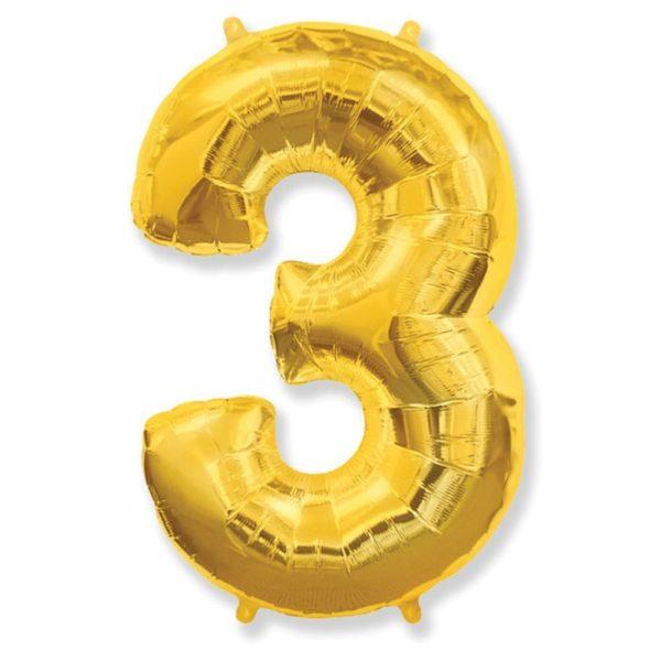 """Фольгированная цифра """"3"""" золотая (Flexmetal)"""