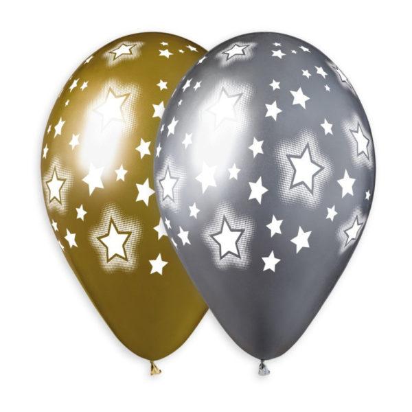 Латексный шар 14″ хром звезды золото, серебро.