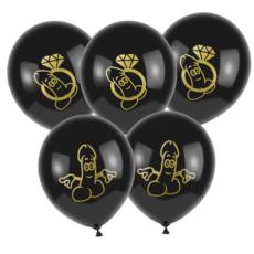 Латексный шар с нарисованным пенисом для девичника черный