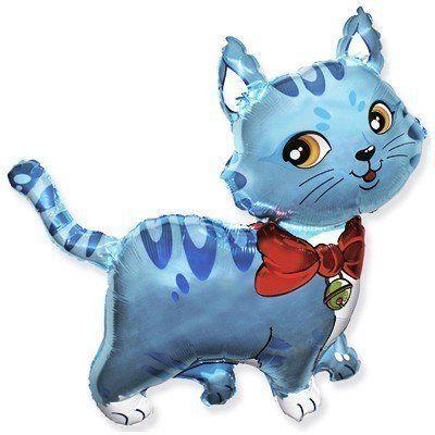 Фольгированный шар котик с шарфом