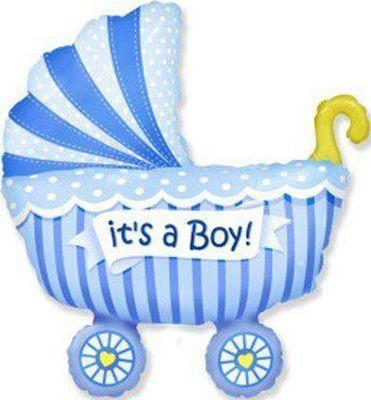 Фольгированный шар коляска детская голубая