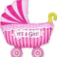 Фольгированный шар коляска детская розовая