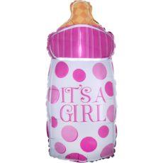 Фольгированный шар бутылка розовая