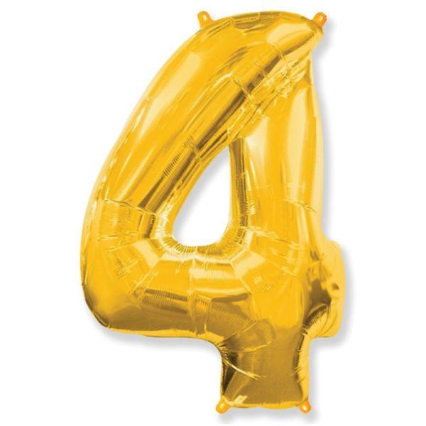 """Фольгированная цифра """"4"""" золотая (Flexmetal)"""
