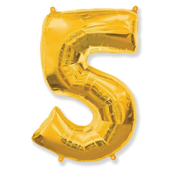 """Фольгированная цифра """"5"""" золотая (Flexmetal)"""