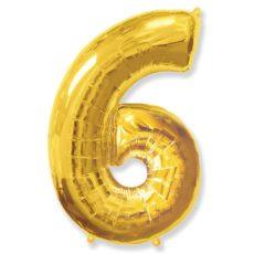 """Фольгированная цифра """"6"""" золотая (Flexmetal)"""