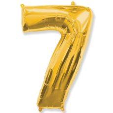 """Фольгированная цифра """"7"""" золотая (Flexmetal)"""