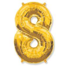 """Фольгированная цифра """"8"""" золотая (Flexmetal)"""