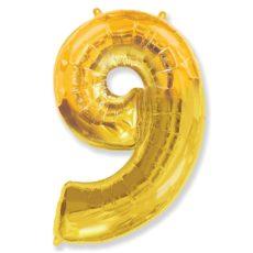 """Фольгированная цифра """"9"""" золотая (Flexmetal)"""