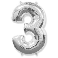 """Фольгированная цифра """"3"""" Серебряная (Flexmetal)"""