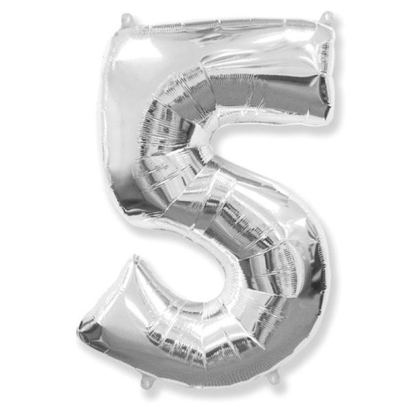 """Фольгированная цифра """"5"""" Серебряная (Flexmetal)"""