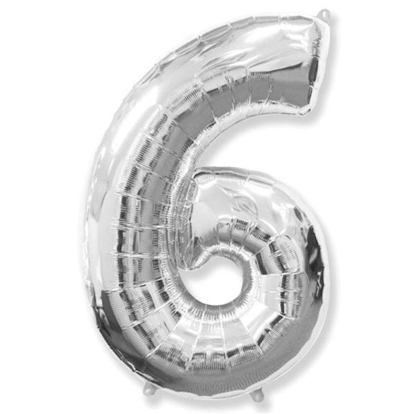 """Фольгированная цифра """"6"""" Серебряная (Flexmetal)"""