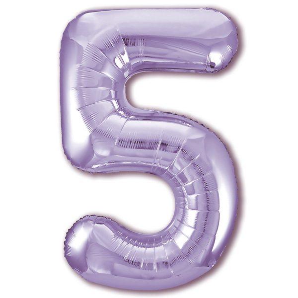 "Фольгированная цифра ""5"" Лаванда (Slim)"