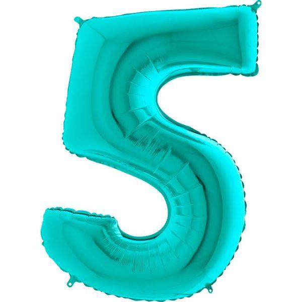 "Фольгированная цифра ""5"" Тиффани (Grabo)"