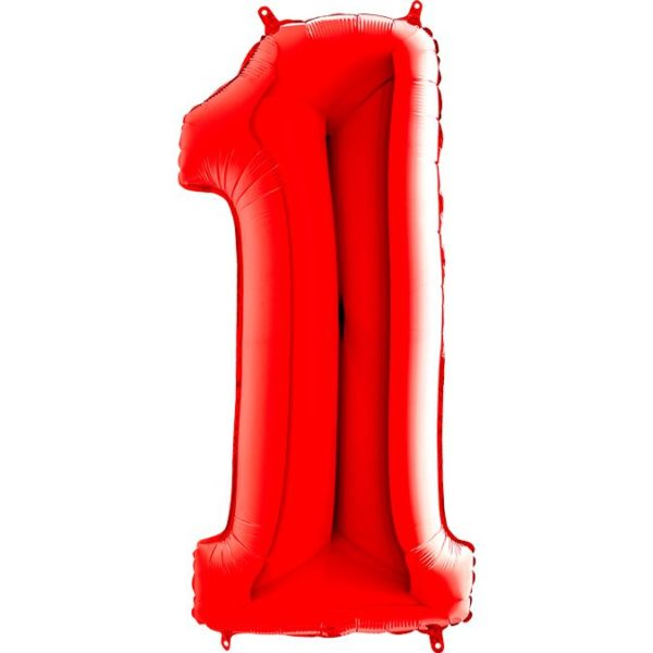 "Фольгированная цифра ""1"" Красная (Grabo)"