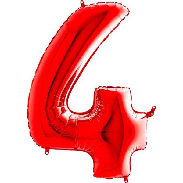 "Фольгированная цифра ""4"" Красная (Grabo)"
