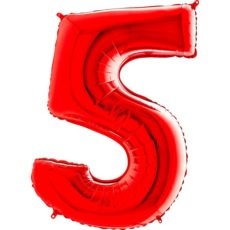 "Фольгированная цифра ""5"" Красная (Grabo)"