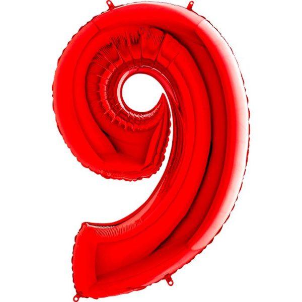 "Фольгированная цифра ""9"" Красная (Grabo)"