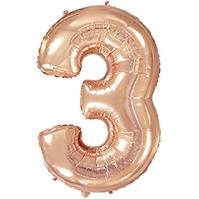 """Фольгированная цифра """"3"""" Розовое золото (Flexmetal)"""
