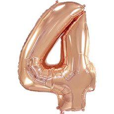 """Фольгированная цифра """"4"""" Розовое золото (Flexmetal)"""