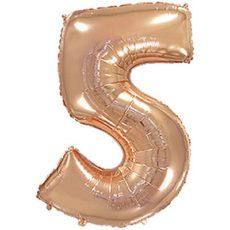 """Фольгированная цифра """"5"""" Розовое золото (Flexmetal)"""