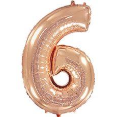 """Фольгированная цифра """"6"""" Розовое золото (Flexmetal)"""