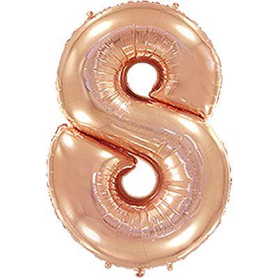 """Фольгированная цифра """"8"""" Розовое золото (Flexmetal)"""