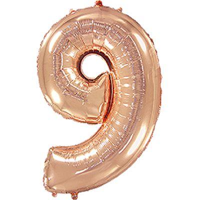 """Фольгированная цифра """"9"""" Розовое золото (Flexmetal)"""