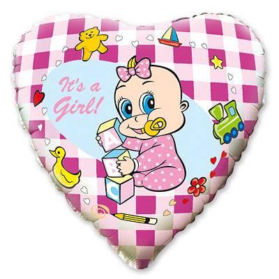 """Фольгированные шары с рисунком 18"""" младенец девочка"""