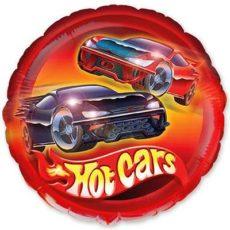 """Фольгированные шарики с рисунком машины гоночные 18"""" (45см)"""