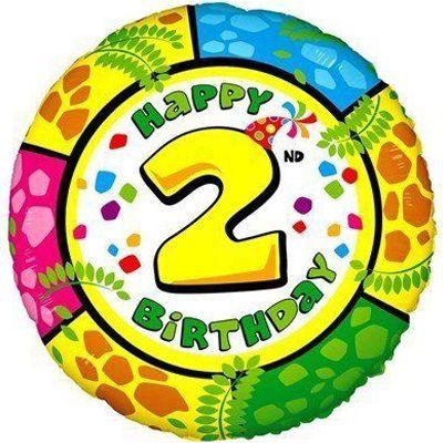 Фольгированные шарики с рисунком цифра 2. 18″ (45см)