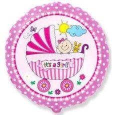 """Фольгированные шарики с рисунком коляска и малыш девочка 18"""" (45см)"""
