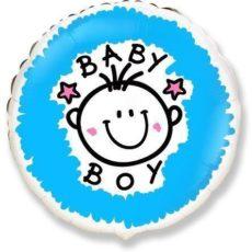 """Фольгированные шарики с рисунком baby boy 18"""" (45см)"""