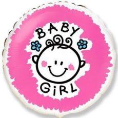"""Фольгированные шарики с рисунком baby girl 18"""" (45см)"""