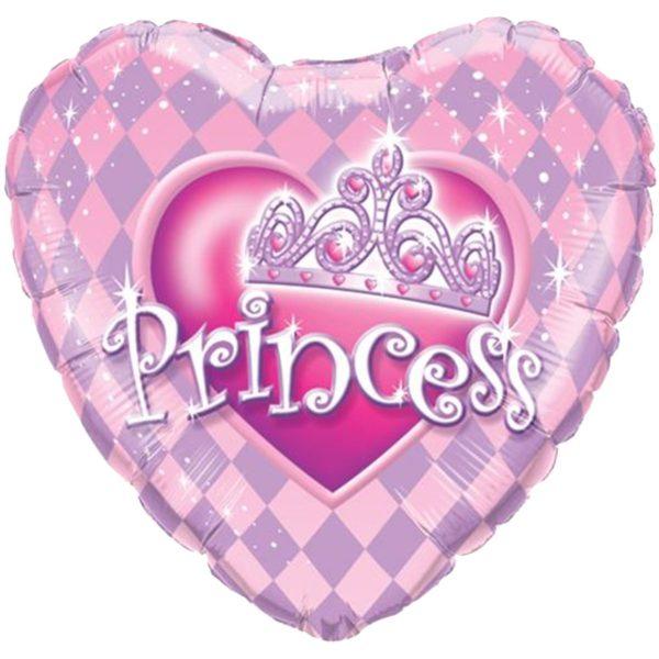 """Фольгированные шарики с рисунком тиара принцессы 18"""" (45см)"""