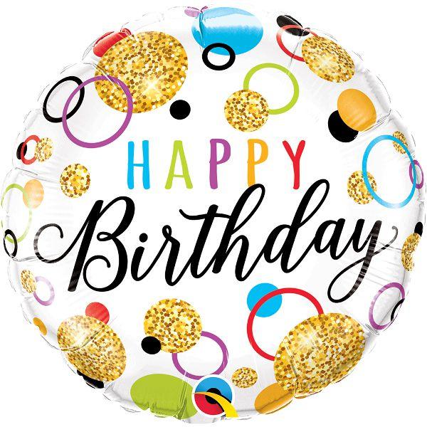 """Фольгированные шарики с рисунком hb """"блестящий день рождения"""" 18″ (45см)"""