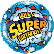 Фольгированные шарики с рисунком день рождения супергероя 18″ (45см)