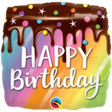Фольгированные шарики с рисунком радужное пирожное с глазурью 18″ (45см)