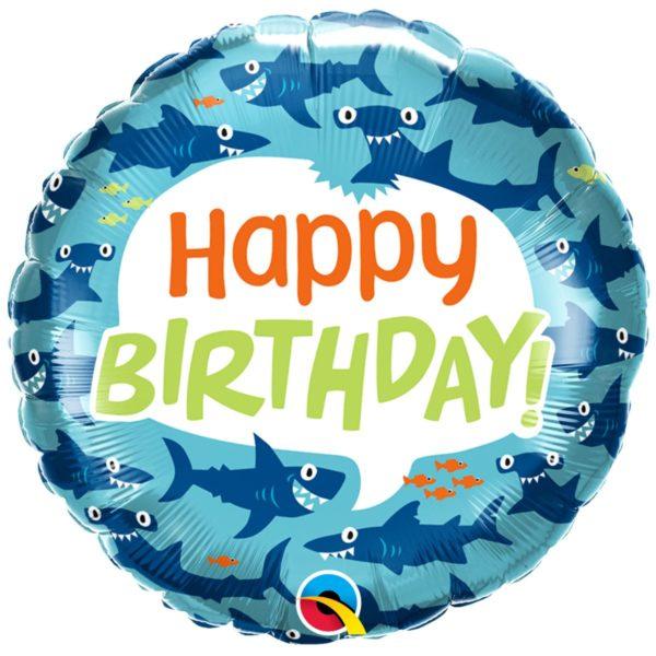 Фольгированные шарики с рисунком радужное прикольные акулы 18″ (45см)