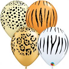 Латексный шар с изображением полос тигра, леопарда, гепарда и зебры. Производитель – Qualatex (США)