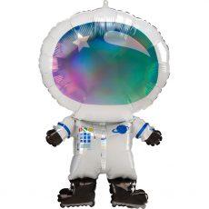 Красочный фольгированный шар в виде космонавта. Размер - 50х76 см. Производитель - Анаграм (США).