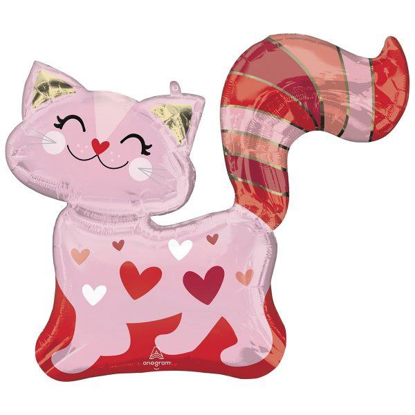 Фольгированный шар Розовая кошечка с сердечком