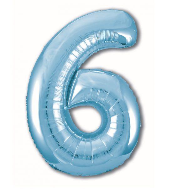 """Фольгированная цифра """"6"""" Голубая (Slim)"""